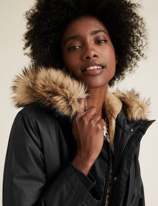 Marks and Spencer Waxed Faux Fur Lined Parka Coat