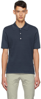 Dunhill Blue Silk Rolla Quilt Textured Polo
