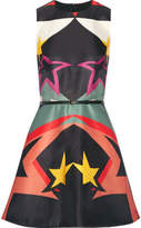 Elie Saab Printed Satin Mini Dress - Black