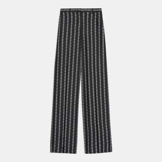 Theory Wide Trouser in Chain Print Silk Twill