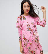 Asos Mini T-Shirt Dress With Frill And Low Back In Floral Print