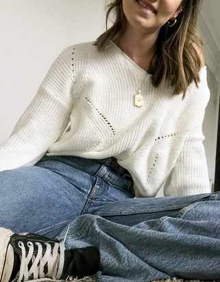 Abercrombie & Fitch balloon sleeve v-neck sweater in cream