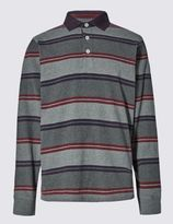 Marks and Spencer Pure Cotton Slim Fit Soft Striped Rugby Top