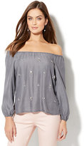 New York & Co. Embellished Off-The-Shoulder Blouse - Ultra-Soft Chambray - Grey Sea Wash