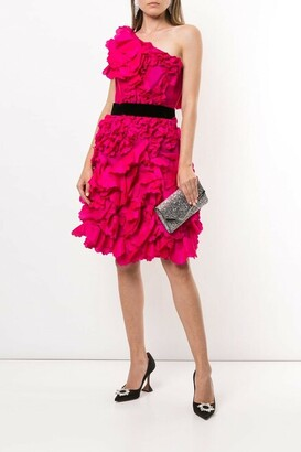 Marchesa Notte One Shoulder Textured Taffeta Cocktail