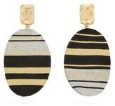 Maryjane Claverol - Chong Stripe Clip Earrings - Womens - Gold
