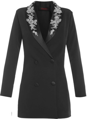 Cliché Reborn Long Sleeve Decorated Lapel Tailored Blazer Dress