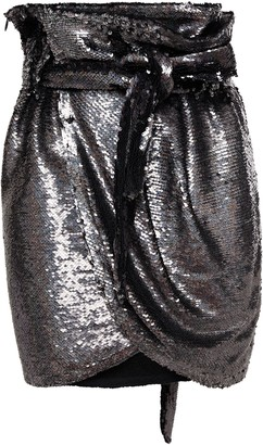 IRO Mohant Wrap-effect Sequined Jersey Mini Skirt