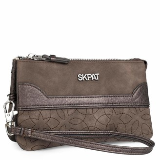 SKPAT - Triple Wallet with Removable Handle. Inner Card Holders. Woman. Zipper Closing. Printed linner. 3 compartments. Canvas and Synthetic Leather. Gift Box. 303819 Color Brown