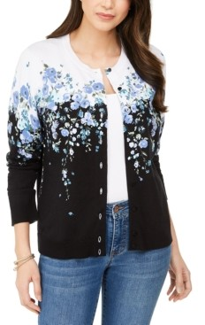 Karen Scott Wisteria Corsage Printed Button Cardigan, Created for Macy's