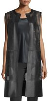 Lafayette 148 New York Faye Laser-Cut Leather Long Vest