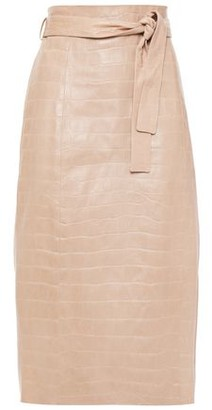 Drome Belted Croc-effect Leather Pencil Skirt
