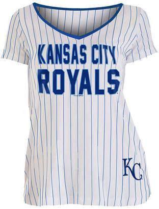 5th & Ocean Women Kansas City Royals Pinstripe V-Neck T-Shirt