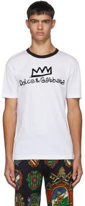 Dolce & Gabbana White Flocked Logo T-Shirt