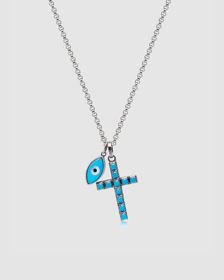 Nialaya Jewellery Men's Cross and Evil Eye Necklace