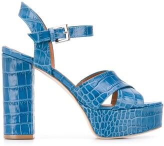 Paris Texas Crocodile Effect Platform Sandals
