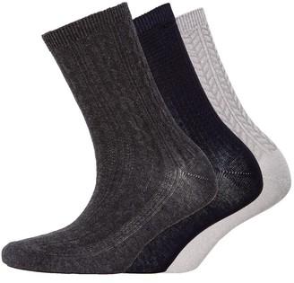 S.O.H.O New York Womens Collection Three Pack Socks Diaganol Rib