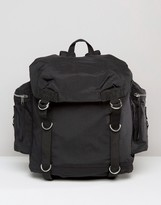 Asos Commander Backpack In Black With Strapping