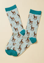 Wbn552 Slip into these pastel blue socks, snuggle up on the couch, and settle in with a nice nature documentary - now this is living! Touting turquoise trim and a pattern of cute calves roaming through a meadow, this footwear stylishly expresses your adoration o