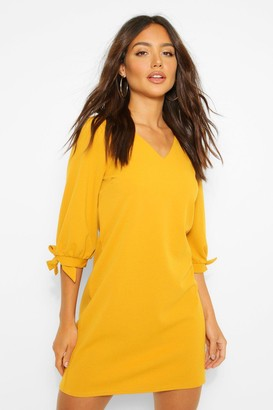 boohoo Tie Sleeve Crepe Shift Dress