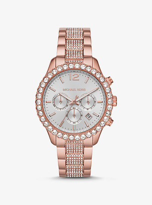 Michael Kors Oversized Layton Pave Rose Gold-Tone Watch