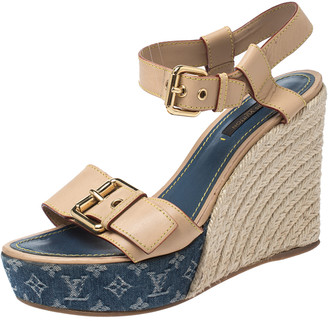 Louis Vuitton Beige Leather Espadrilles Wedge Platform Ankle Strap Sandals Size 38