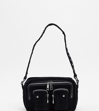 Nunoo Ellie corduroy cross body bag with front pockets in black