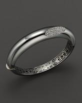 Roberto Coin Medium Sterling Silver Bangle with Diamonds