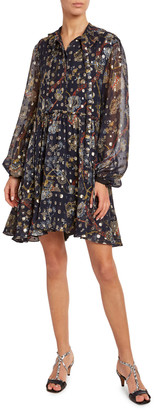 Chloé Flower-Print Metallic Jacquard Shirtdress