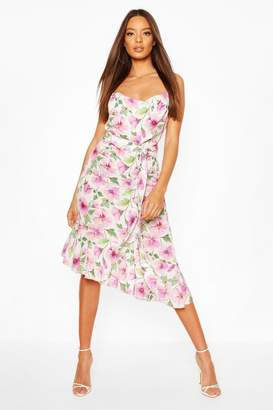 boohoo Woven Floral Cowl Strappy Back Midi Dress