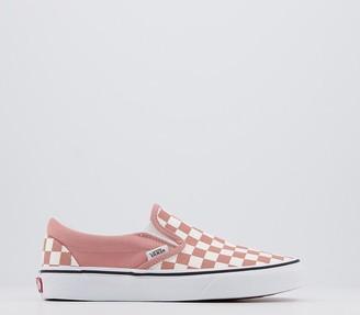 Vans Classic Slip Ons Checkerboard Rose Dawn True White