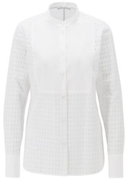 BOSS Regular-fit cotton blouse with monogram embroidery