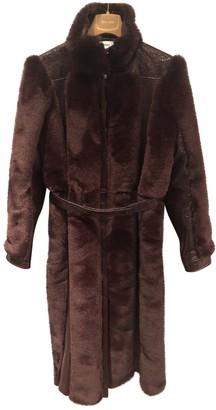 Courreges Burgundy Faux fur Coat for Women