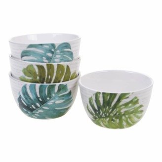 Certified International Mixed Greens Palm Leaves 4-pc. Ice Cream Bowl Set