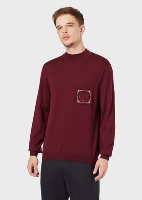 Giorgio Armani Virgin Wool, Mock-Neck Sweater With Chinese New Year Embroidery