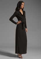 Haute Hippie Long Sleeve Cowl Gown with Self Belt