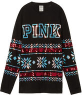 PINK Holiday Bling Campus Long Sleeve Tee