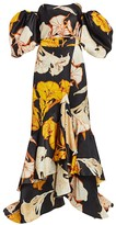 Johanna Ortiz Cosmic Origin Removable Wrap Skirt Floral Ruffle Silk Gown
