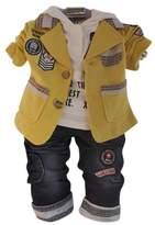 WEONEDREAM Baby Infant Boys 3pcs Clothing Sets Shirts + Jacket + Jeans Pants (New Yellow,3T)