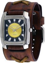 Nemesis #BFXB049Y Men's Sunray Rectangular Yellow Dial Wide Leather Cuff Band Watch