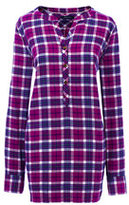Lands' End Women's Tall Long Sleeve Flannel Tunic Top-Dark Gulf Teal Check