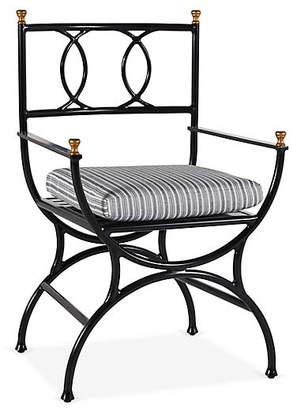 One Kings Lane Frances Bistro Chair - White/Black Stripe