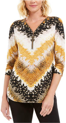 JM Collection Printed Zipper-Neck Tunic