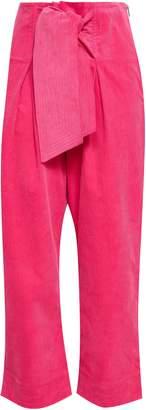 Paper London Tie-front Cotton-blend Corduroy Wide-leg Pants