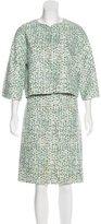 Carolina Herrera Long Sleeve Patterned Skirt Suit