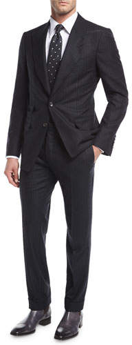 Tom Ford Shelton Base Pinstripe Flannel Wool-Silk Two-Piece Suit