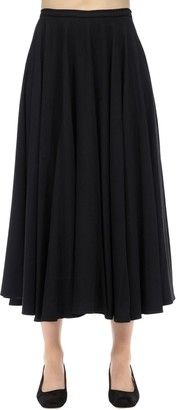 Lardini Stretch Viscose Blend Flannel Midi Skirt