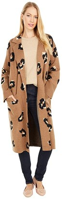J.Crew Leopard Open-Front Long Sweater-Blazer (Heather Dark Camel/Sand/Black) Women's Sweater