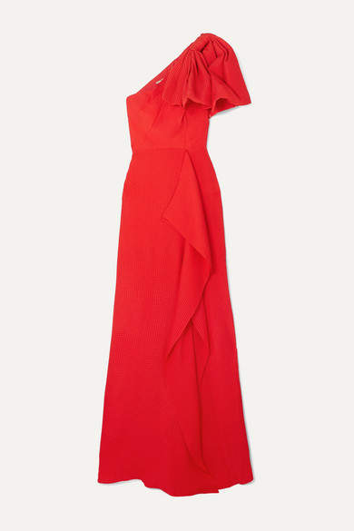Roland Mouret Belhaven One-shoulder Bow-detailed Silk-jacquard Gown - Red