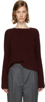 Carven Burgundy Purl Stitch Crewneck Sweater